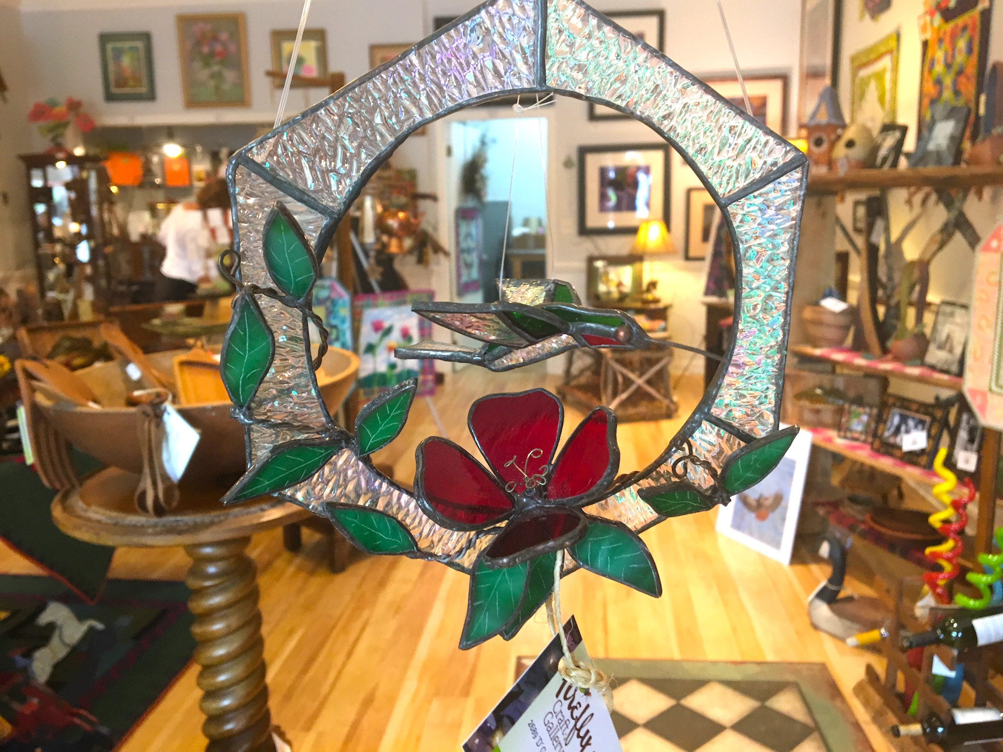 3-D Hummingbird in stained glass by Kathy Goldstein
