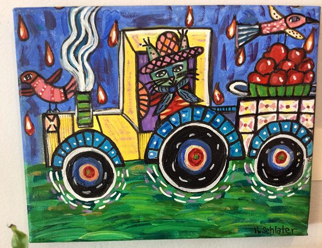 We're are loving this sweet painting by one of our newest artist's Holly Schlater.  It's perfect for our #applefestival weekend! #skytoporchard #historicflatrock #apples #tractor #folkart #hendo #hendersonvillenc 🍎🍏🍎#828isgreat