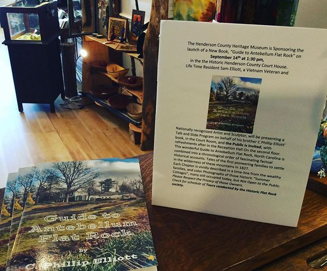 The public is invited to the historic Hendersonville Court House on September 14, at 1:30pm. To hear lifetime resident Sam Elliott speak about and introduce his late brother's book, Antebellum Flat Rock.  It's a beautiful book about some of Historic Flat Rock's most interesting homes.  You can pick up your copy at Firefly Craft Gallery for $14.95.