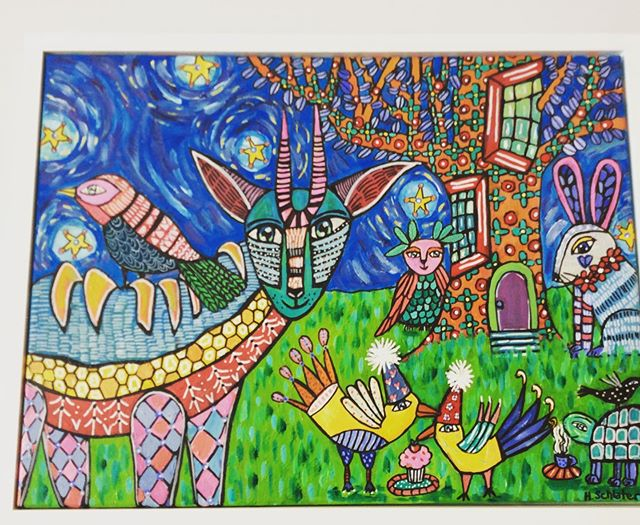 I love this beautiful #folkart #folkartpainting by @hollyschlaterart.  This is a larger painting.  The colors are amazing and the detail is mesmerizing!💜#flatrock #fireflycraftgallery #treehouse #animals #happy #828isgreat #hendo #applefestival #wncart
