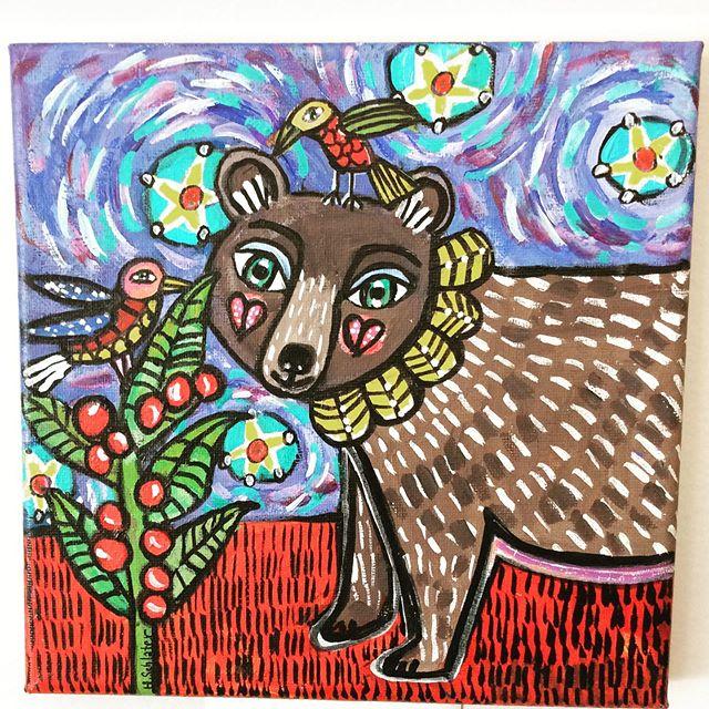 Sweet #bears #folkart #birds #colorfulart #wncart #828isgreat #flatrocknc #flatrock #blueridgemountains #blueridgeart #whimsical #bearsofinstagram #fireflycraftgallery