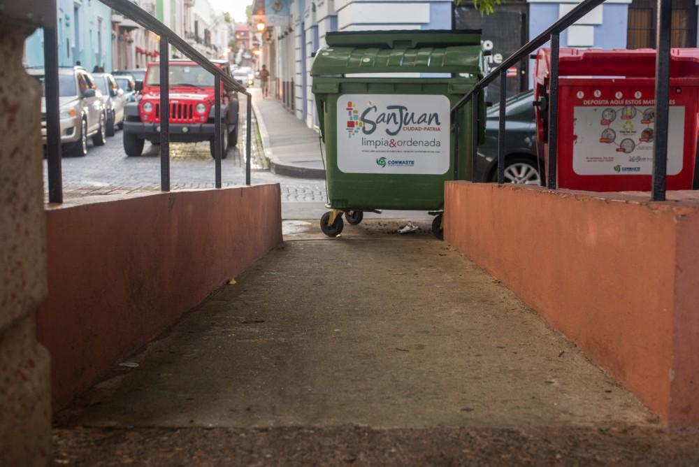 A trash bin blocks a wheelchair ramp in Old San Juan.