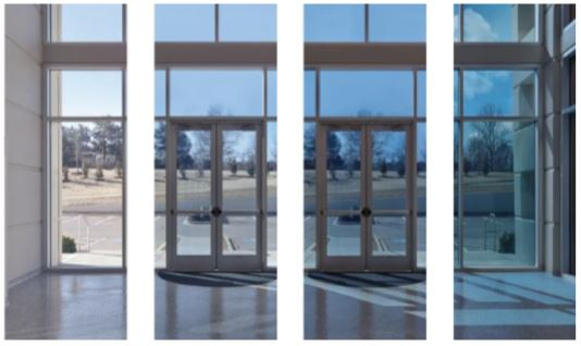 Figure 4 Image of electrochromic windows transitioning from fully transparent to darker (left to right)