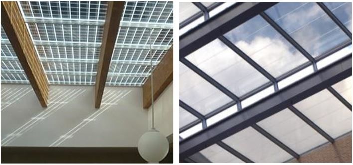 Figure 5 Pictures of solar cell windows manufactured by Onyx Solar (the example on the left uses opaque solar cells and the example on the right uses semi-transparent solar cells)
