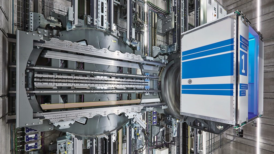 Figure 3. A MULTI elevator cab on a test track at thyssenkrupp's testing facility.