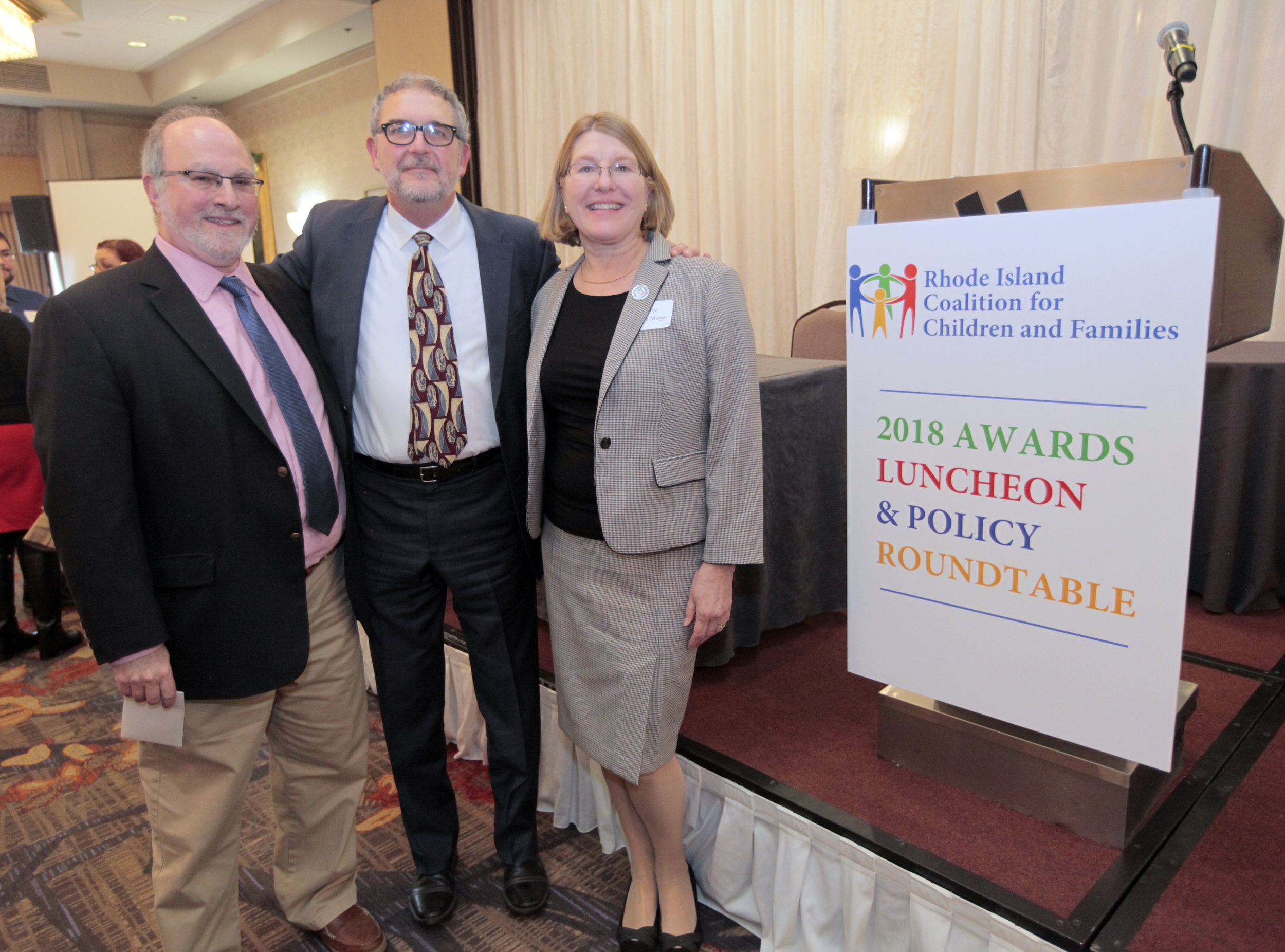L to R:   Craig Gordon ,  Incoming Chair , RICCF,  Ben Lessing ,  Tanja Kubas-Meyer ,  Executive Director , RICCF