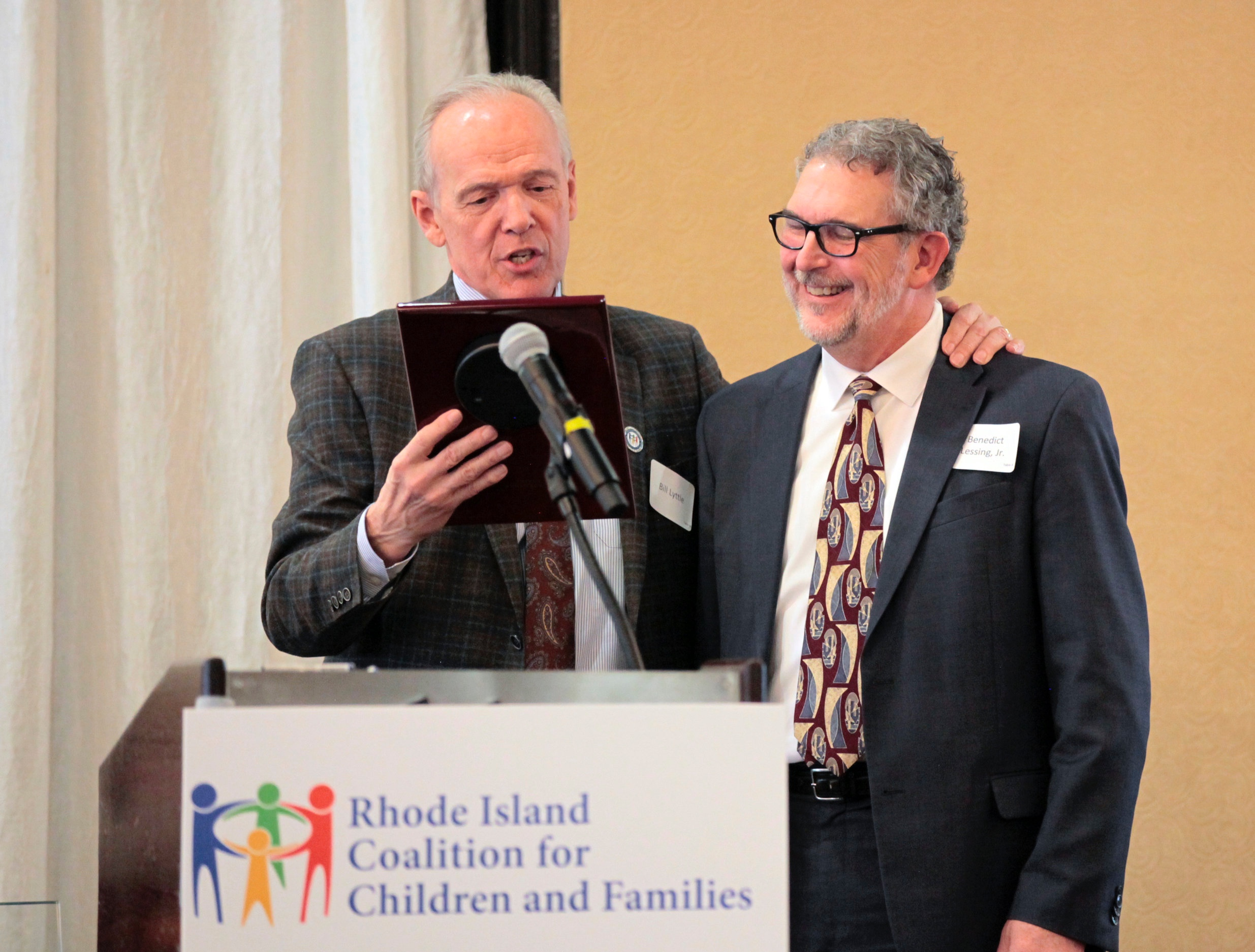 Benedict F. Lessing, Jr., RICCF Founding Chairman,  accepting the award for Coalition Vision from William Lyttle, III, RICCF Treasurer.