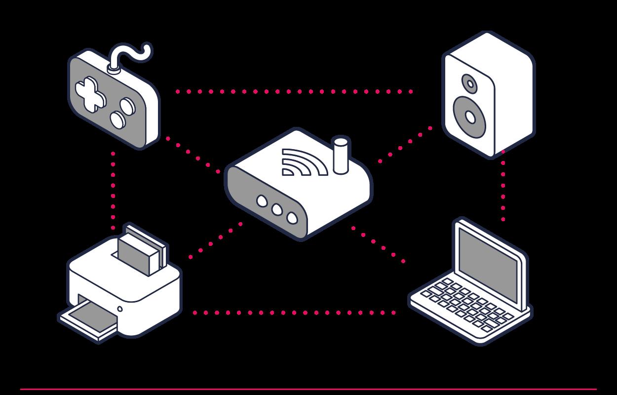 Utilice una contraseña para conectar los dispositivos a la red Wi-Fi.