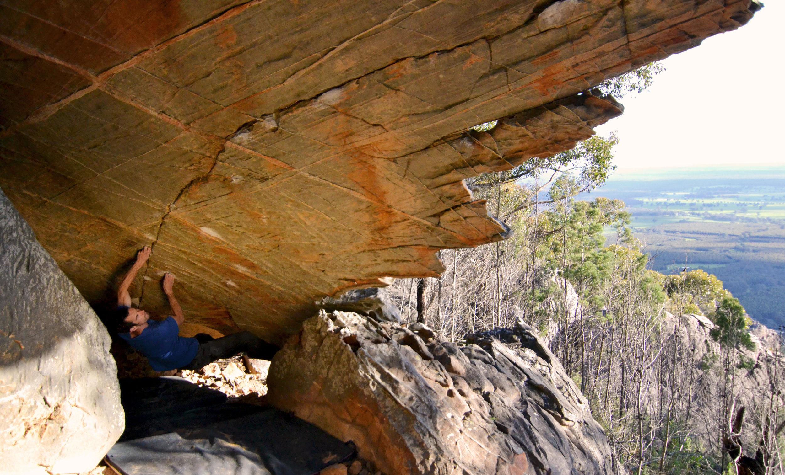 The Outsider V11 (8a) - Mt Fox, Australia. Photo:Mina Leslie-Wujastyk