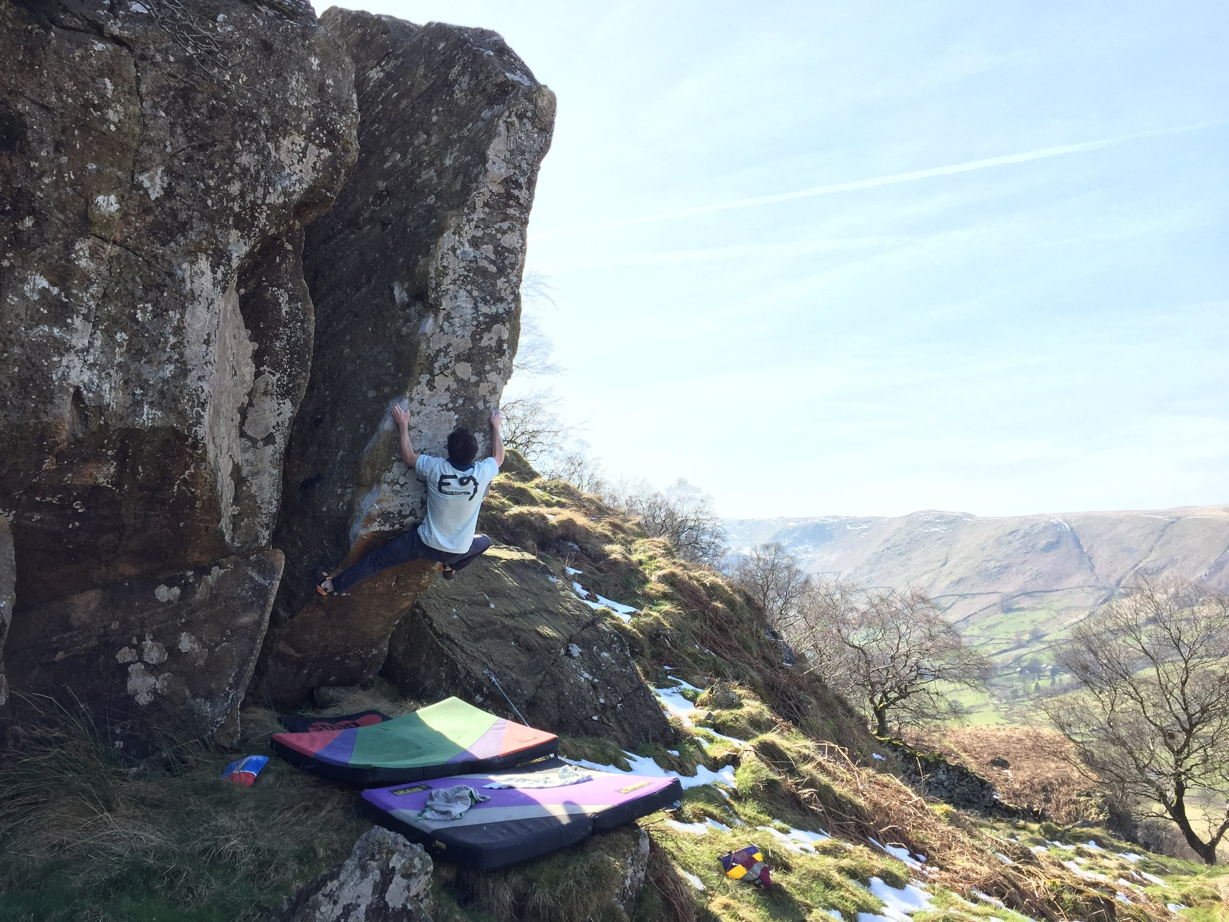 Coconutter Sit  7c (V9)at Gouther in the Lake District. Photo Tim Stubley
