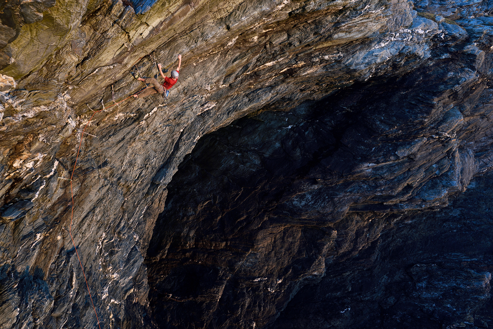James McHaffie on the first ascent of  Nightmare Inauguration  (E8 6b) Porth Dafarch, Anglesey, North Wales.