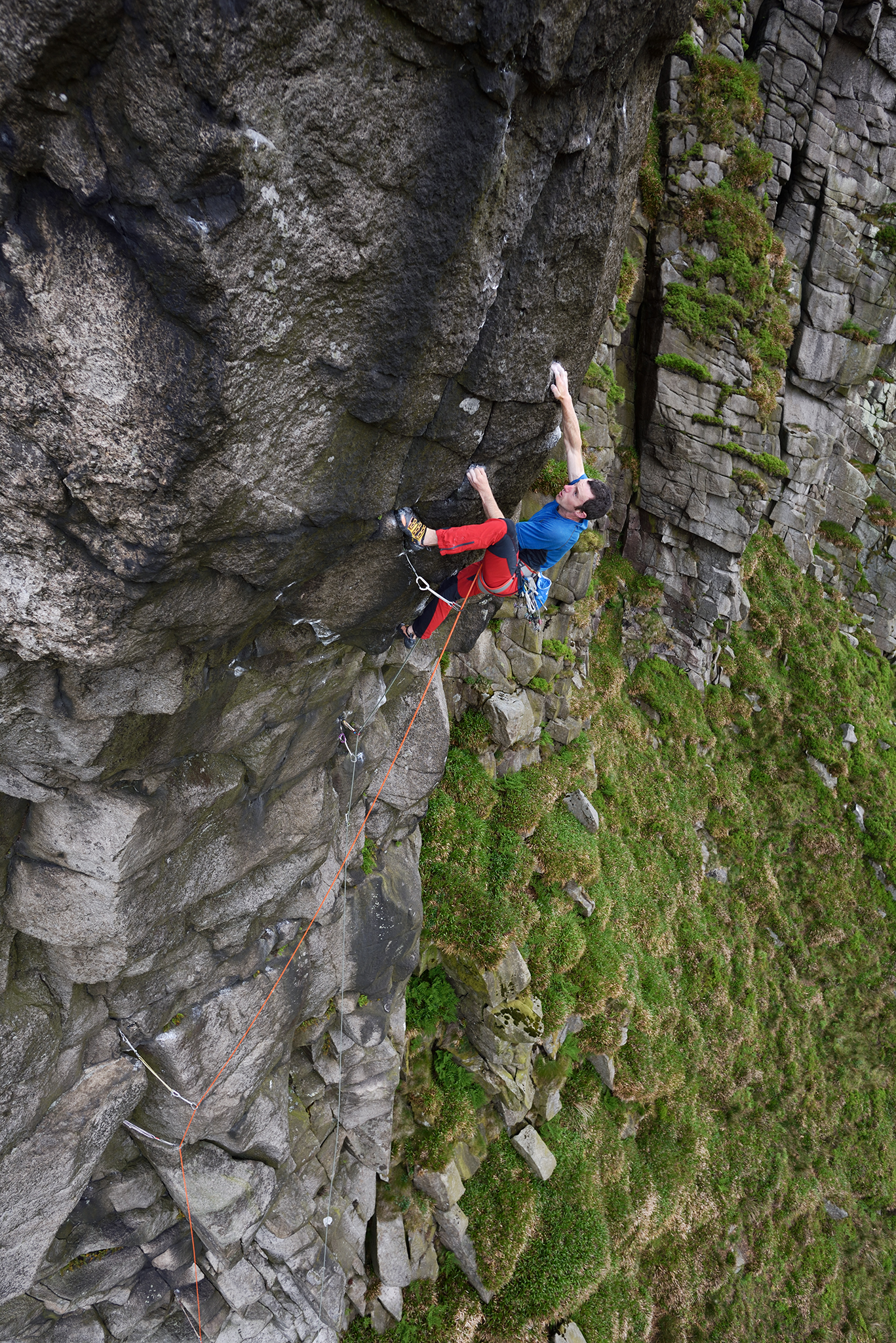 James McHaffie on first ground-up ascent of Divided Years E8 7a, Mourne Mountains, N.Ireland