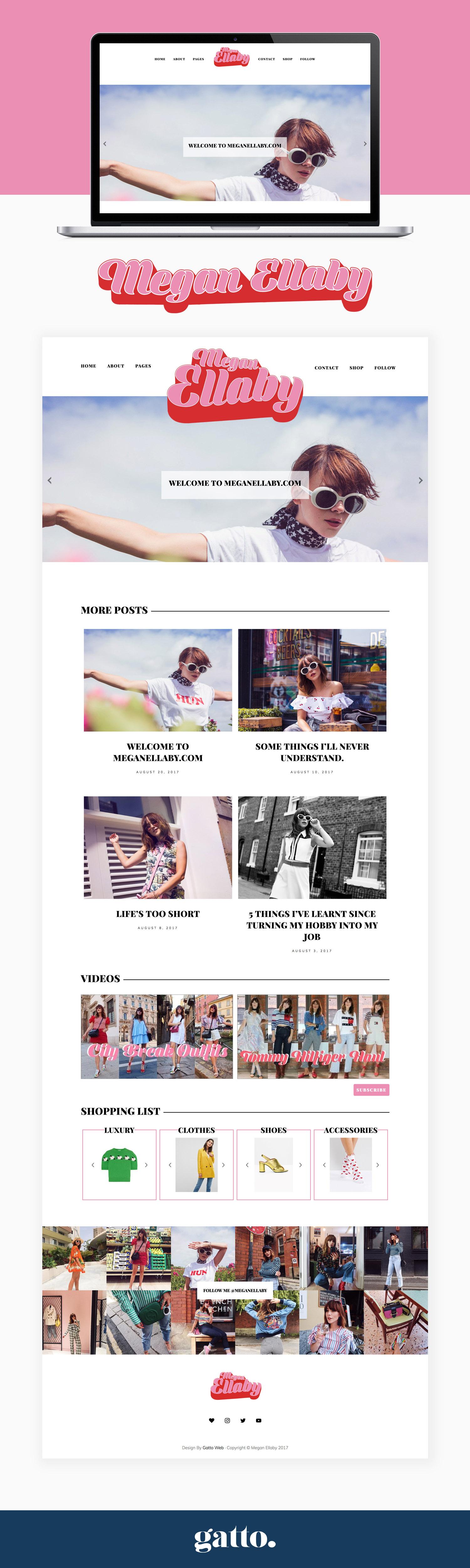 Megan Ellaby Website Design | Retro Blog Design | Unique colourful website | Gatto Branding and Web Design