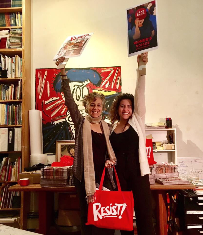 Françoise Mouly and Nadja Spiegelman getting ready to attend the Women's March in New York City, January 2017.