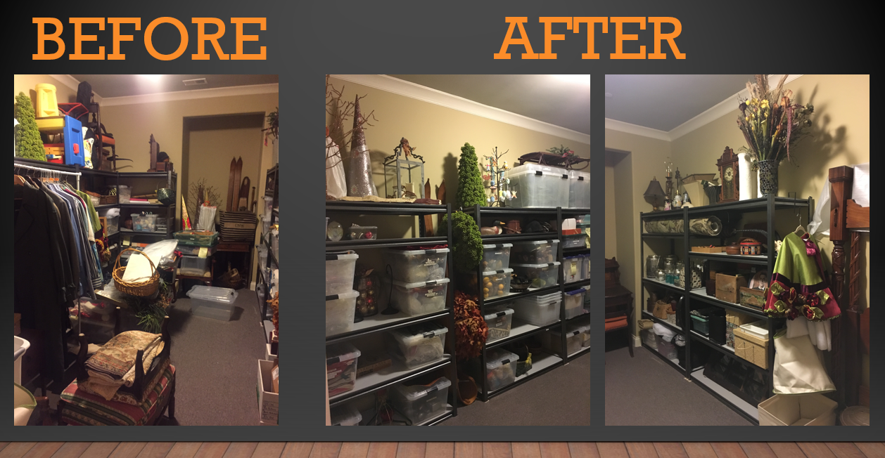 Client's Storage Room, one of many areas that was cleared out, edited and organized