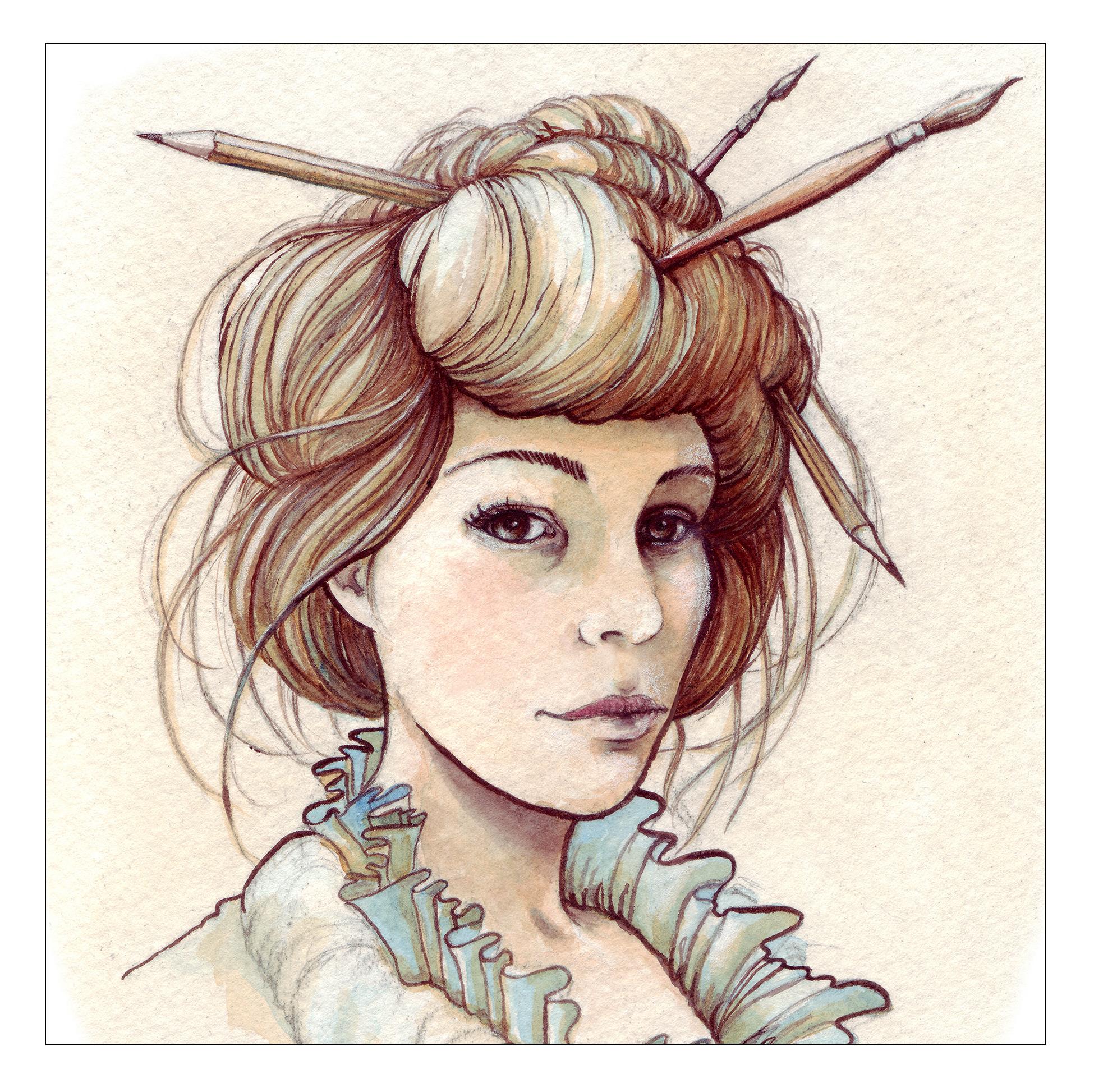 Karen Watson , illustrator   watercolor portrait by Karen Watson