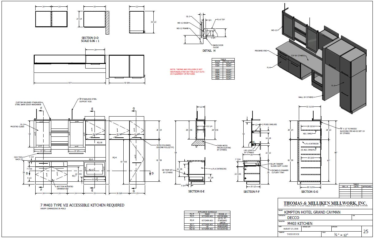 Kitchen barn cabinet door and wall paneling drawing