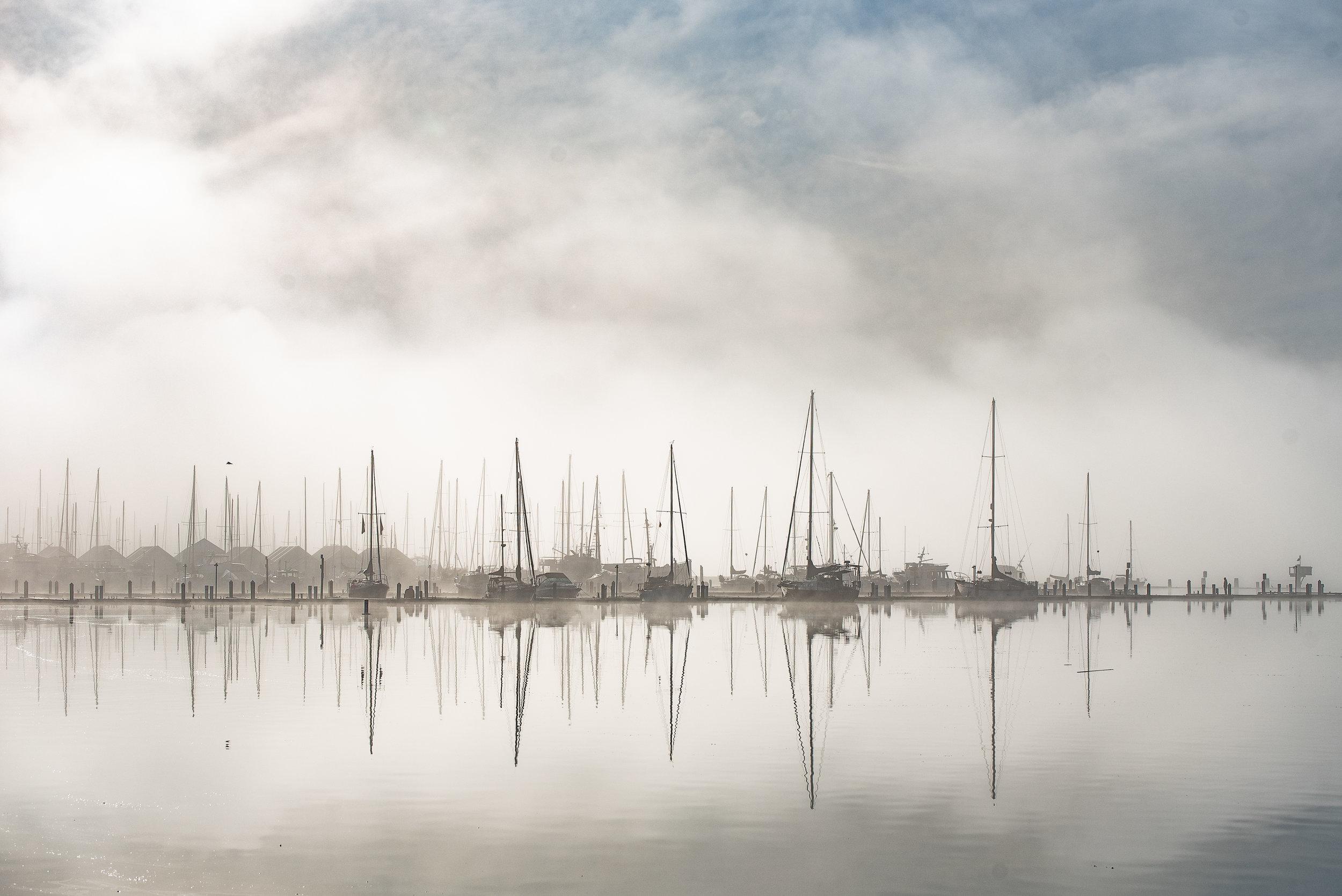 Morning fog over Liberty Bay