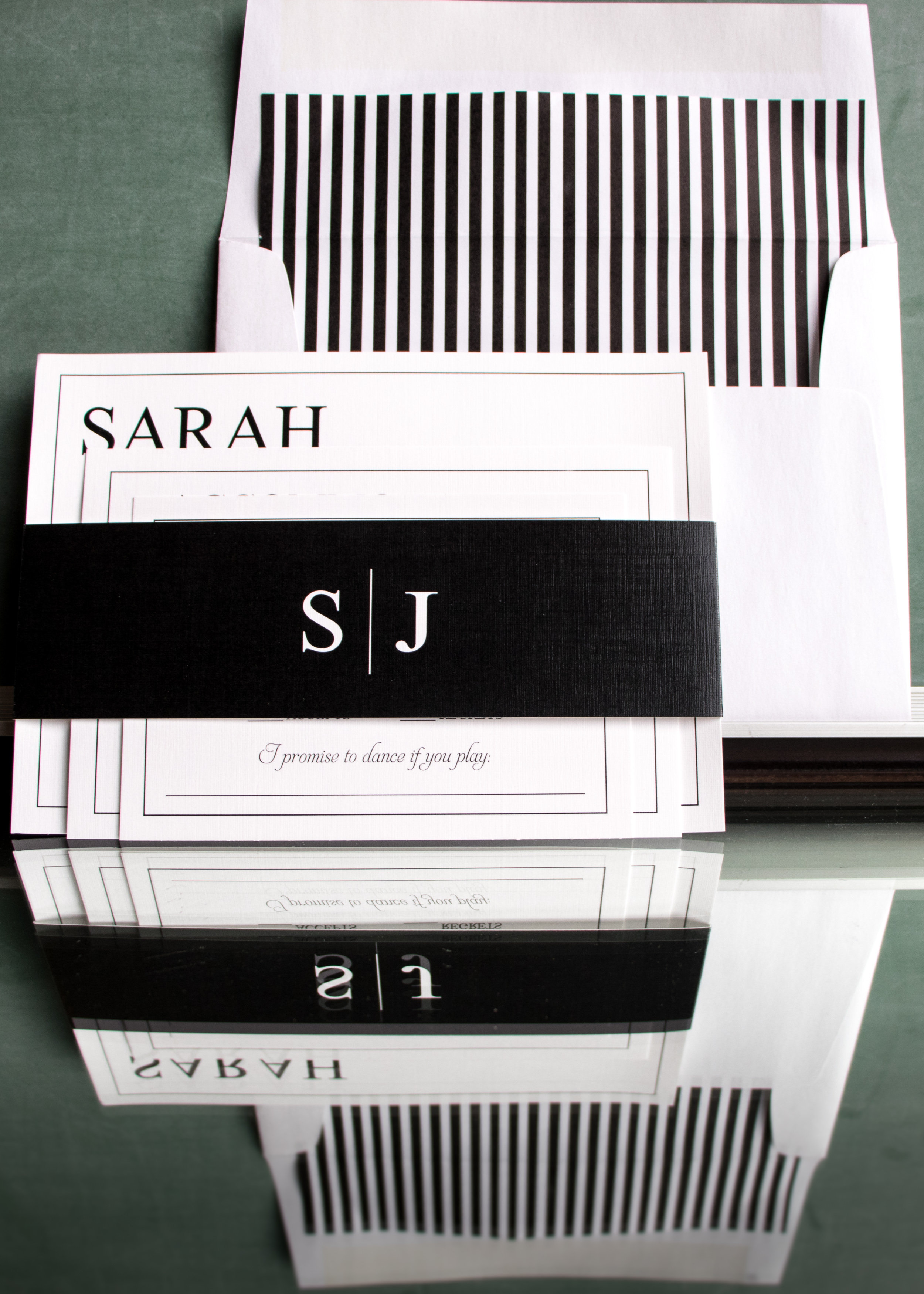 This is the invitation I received so many compliments on this past weekend - a Kate Spade inspired design - hence the thin black and white stripes!