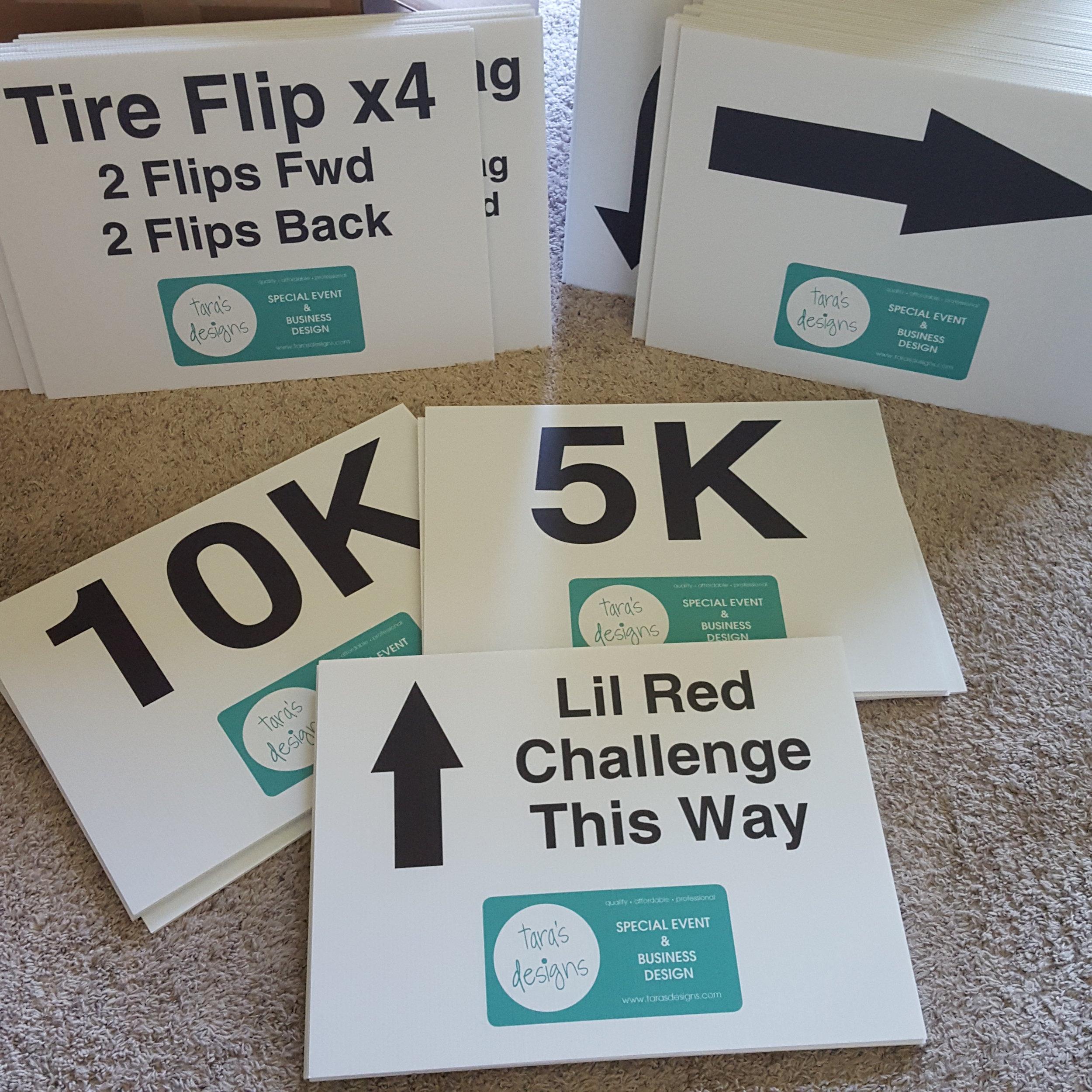 5K 10K 1 mile marathon running race yard signs