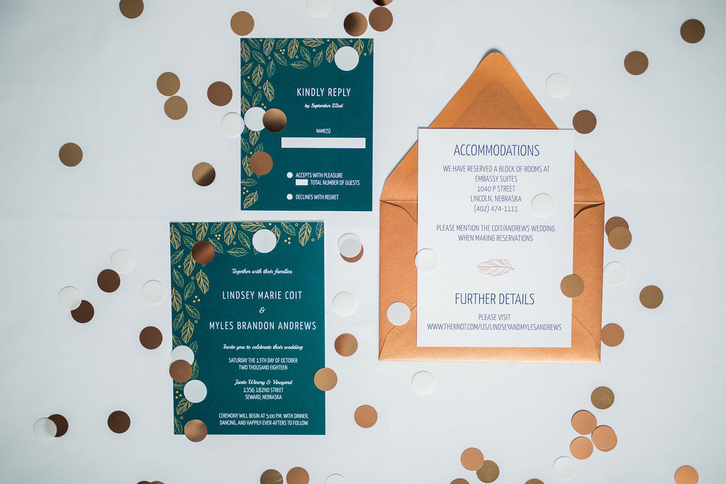 teal copper leaf wedding invitation