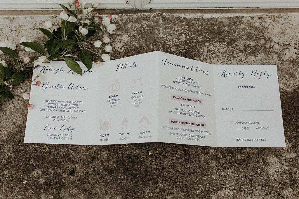 accordion fold wedding invitation