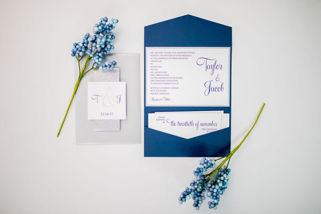 navy silver pocket wedding invitation