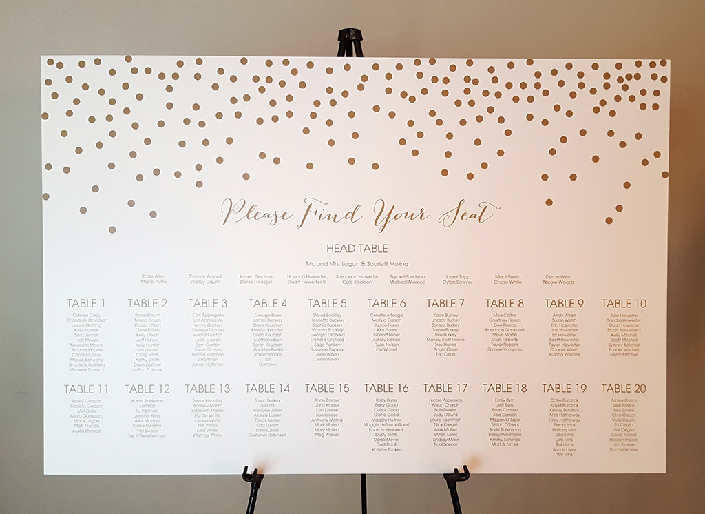 polka dot seating chart sign