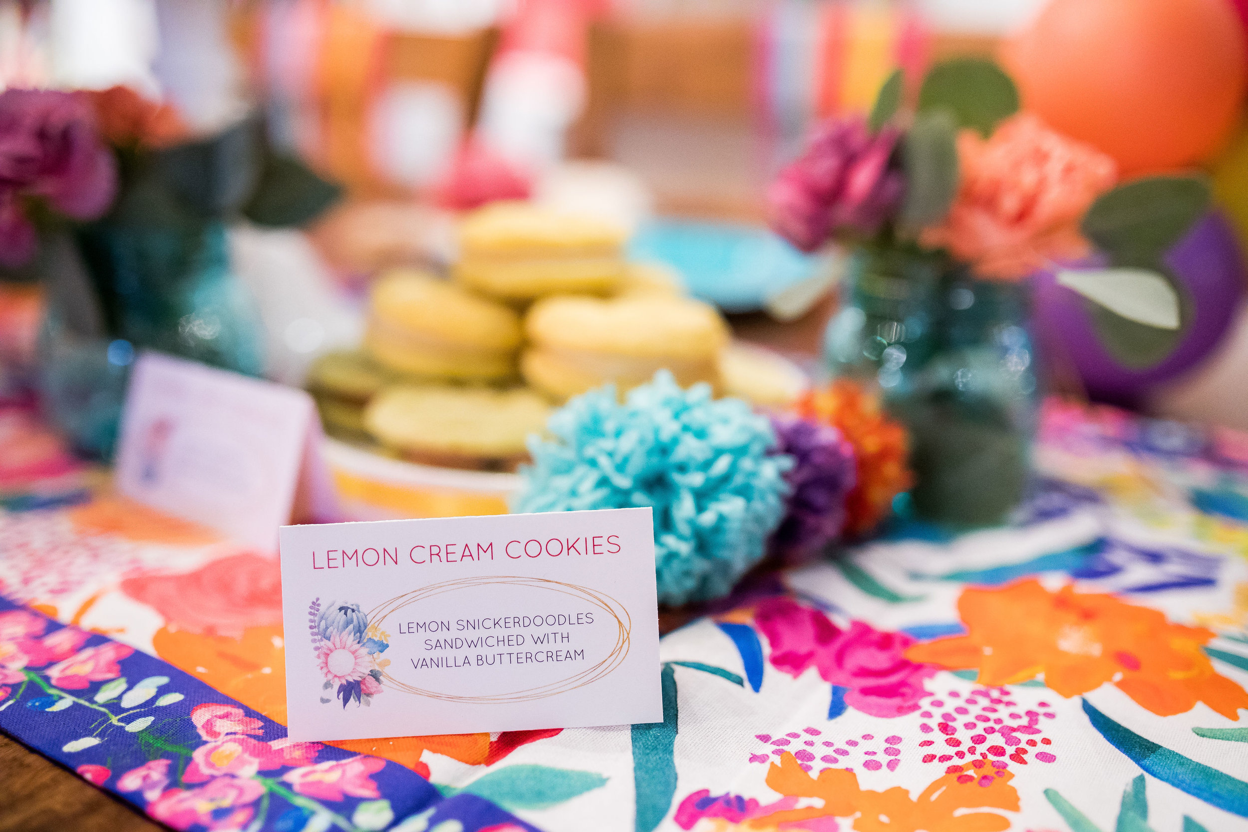 floral gold colorful food cards