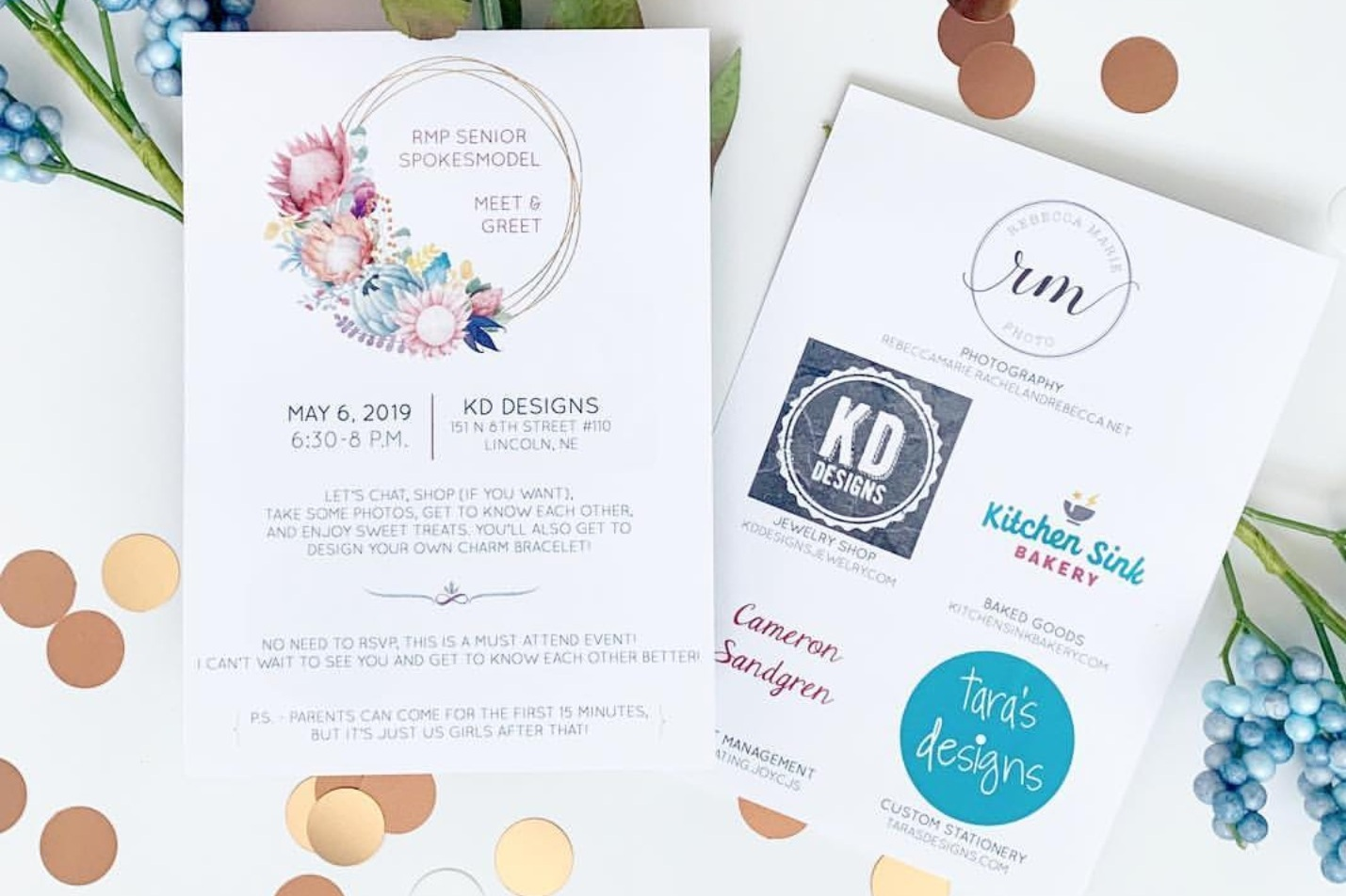 floral gold colorful invitation