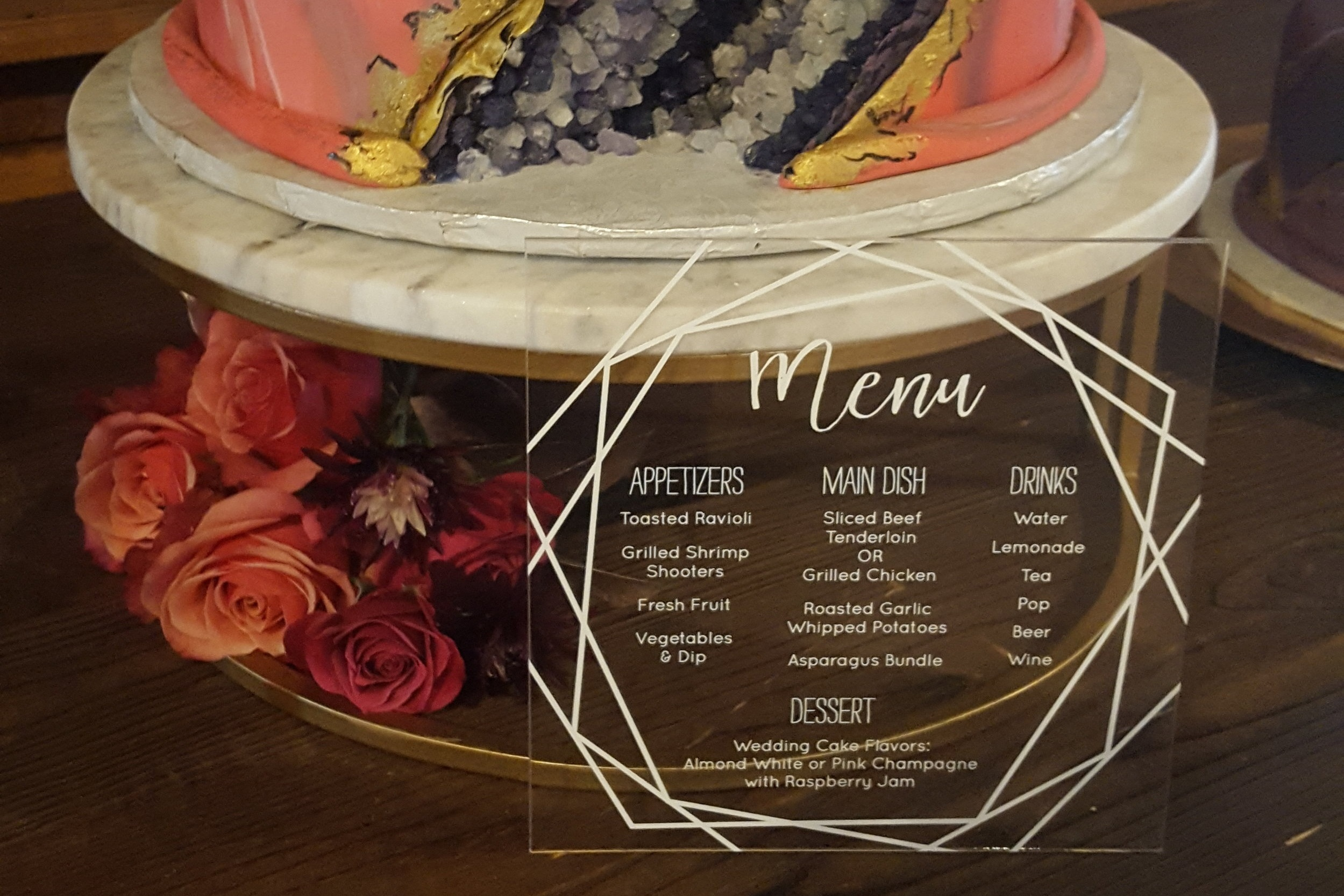 Acrylic Menu with Cake