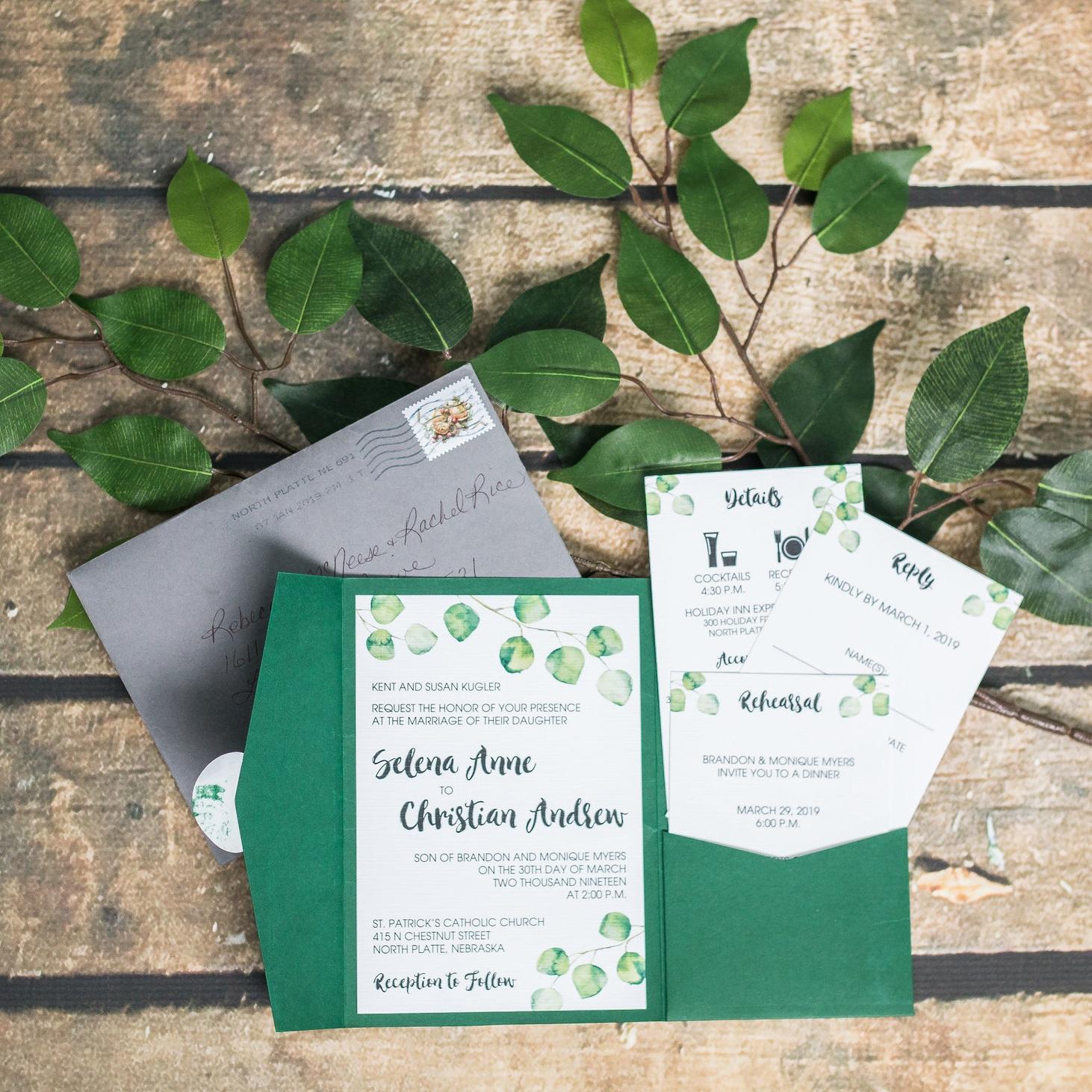 eucalyptus wedding invitation pocket