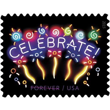 1 oz. Forever Stamp - Neon Celebrate - $0.55