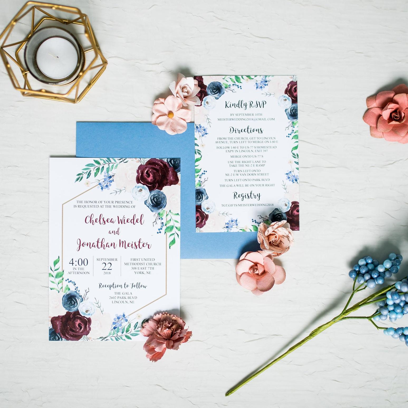 floral navy burgundy gold hexagon wedding invitation