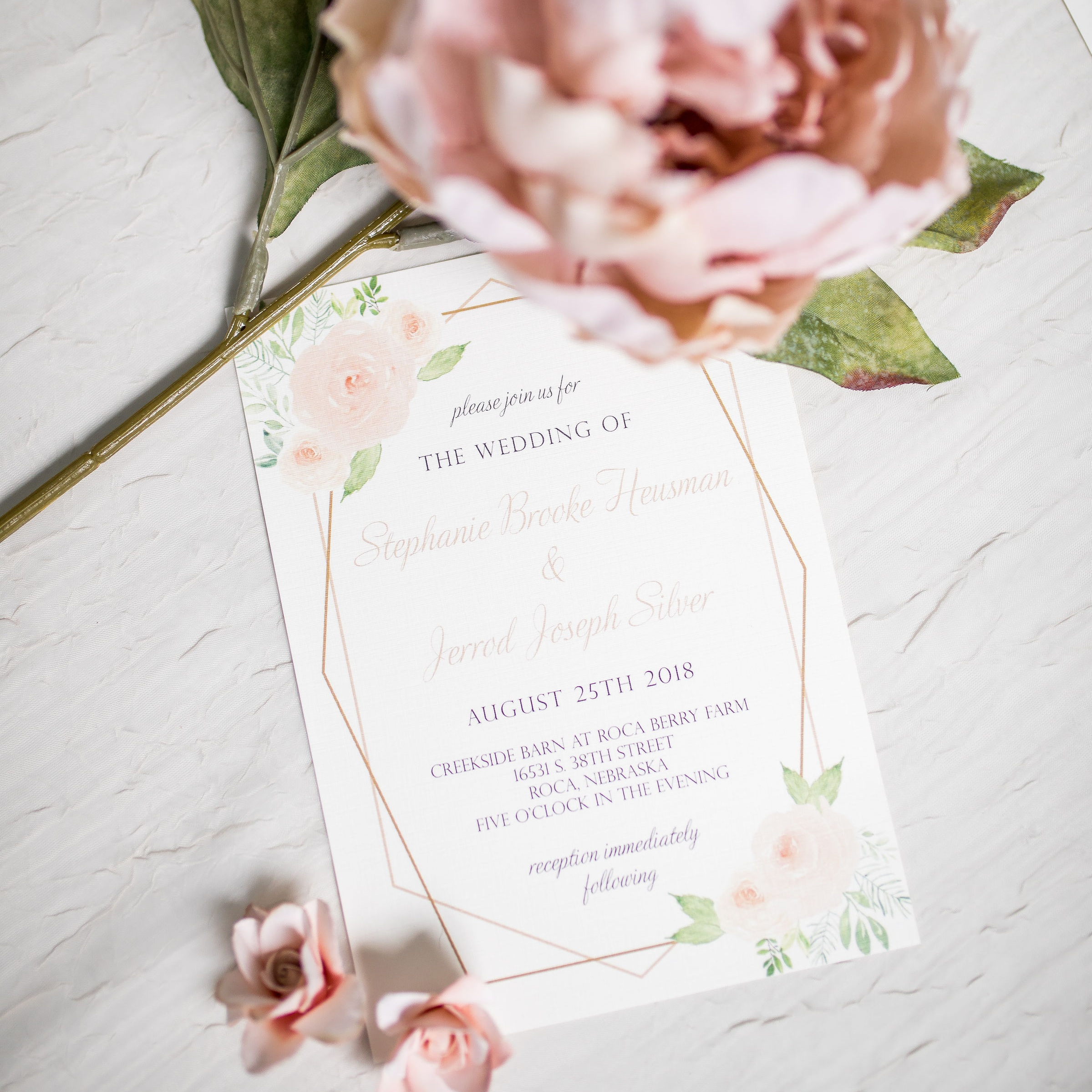 blush floral and gold hexagon wedding invitation
