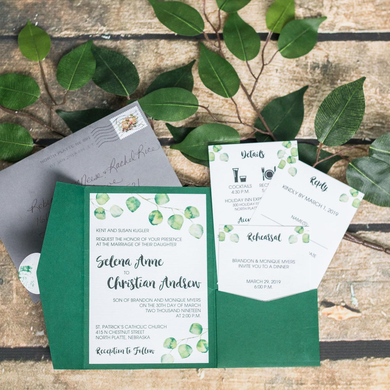eucalyptus forest green pocket wedding invitation