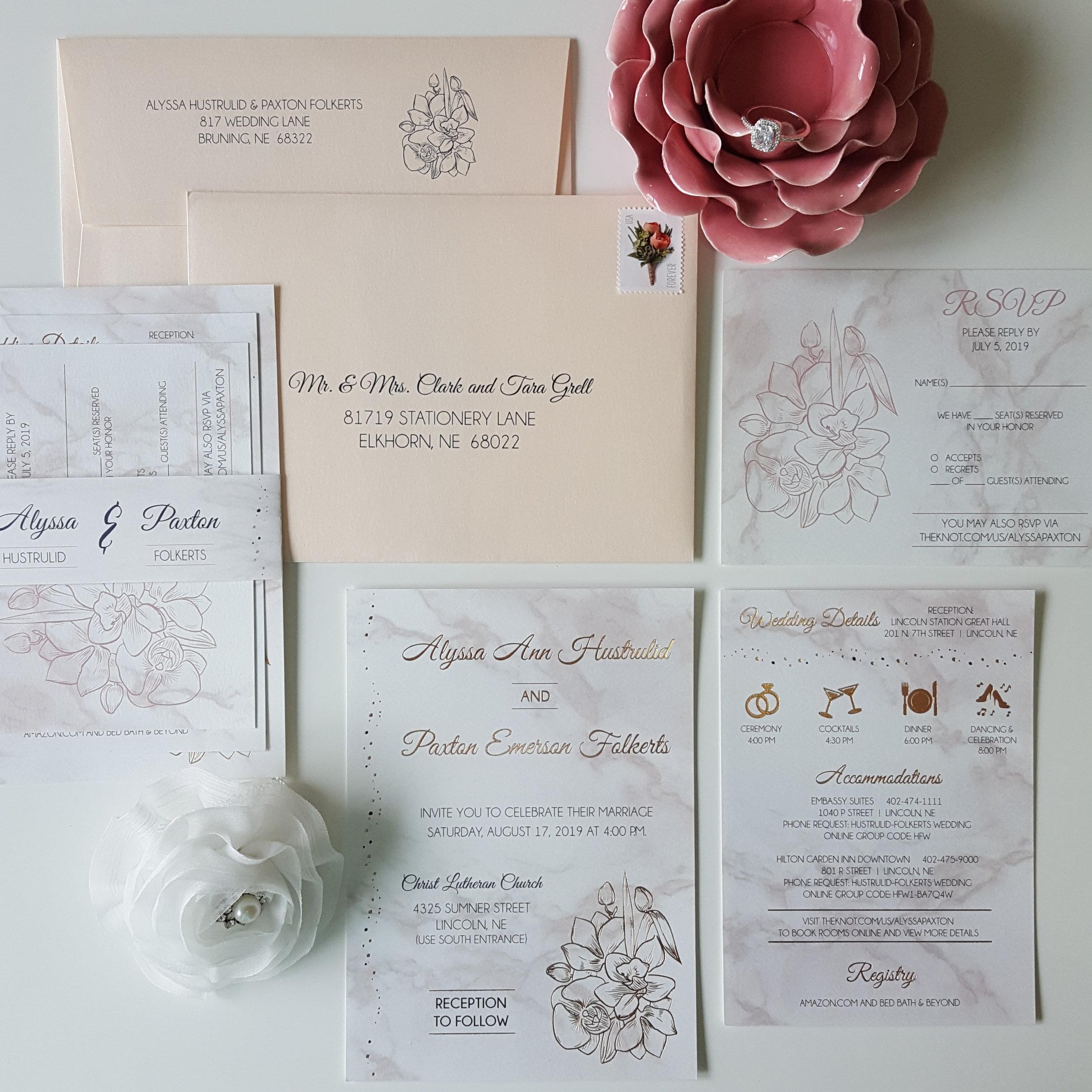 marble navy blush rose gold foil wedding invitation