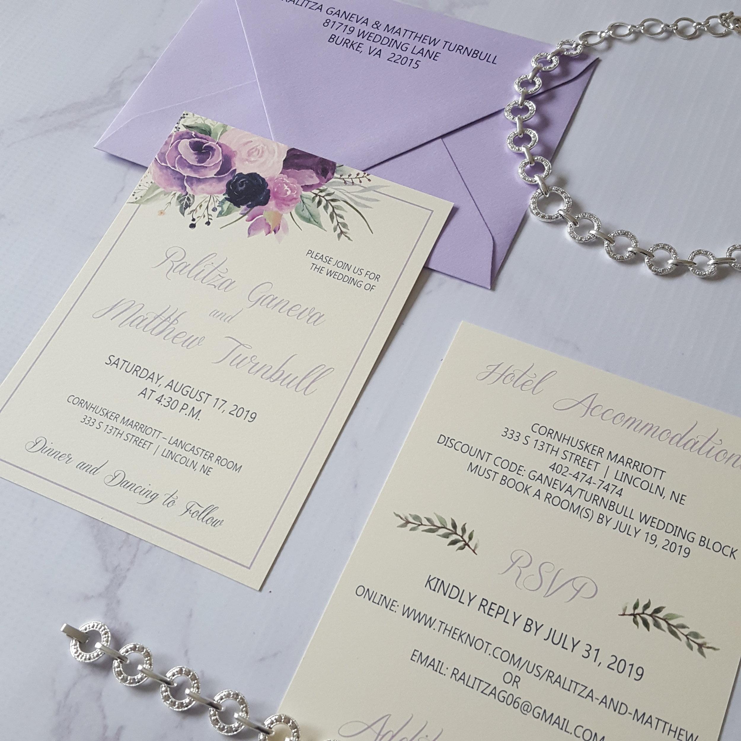 lavender purple floral wedding invitation