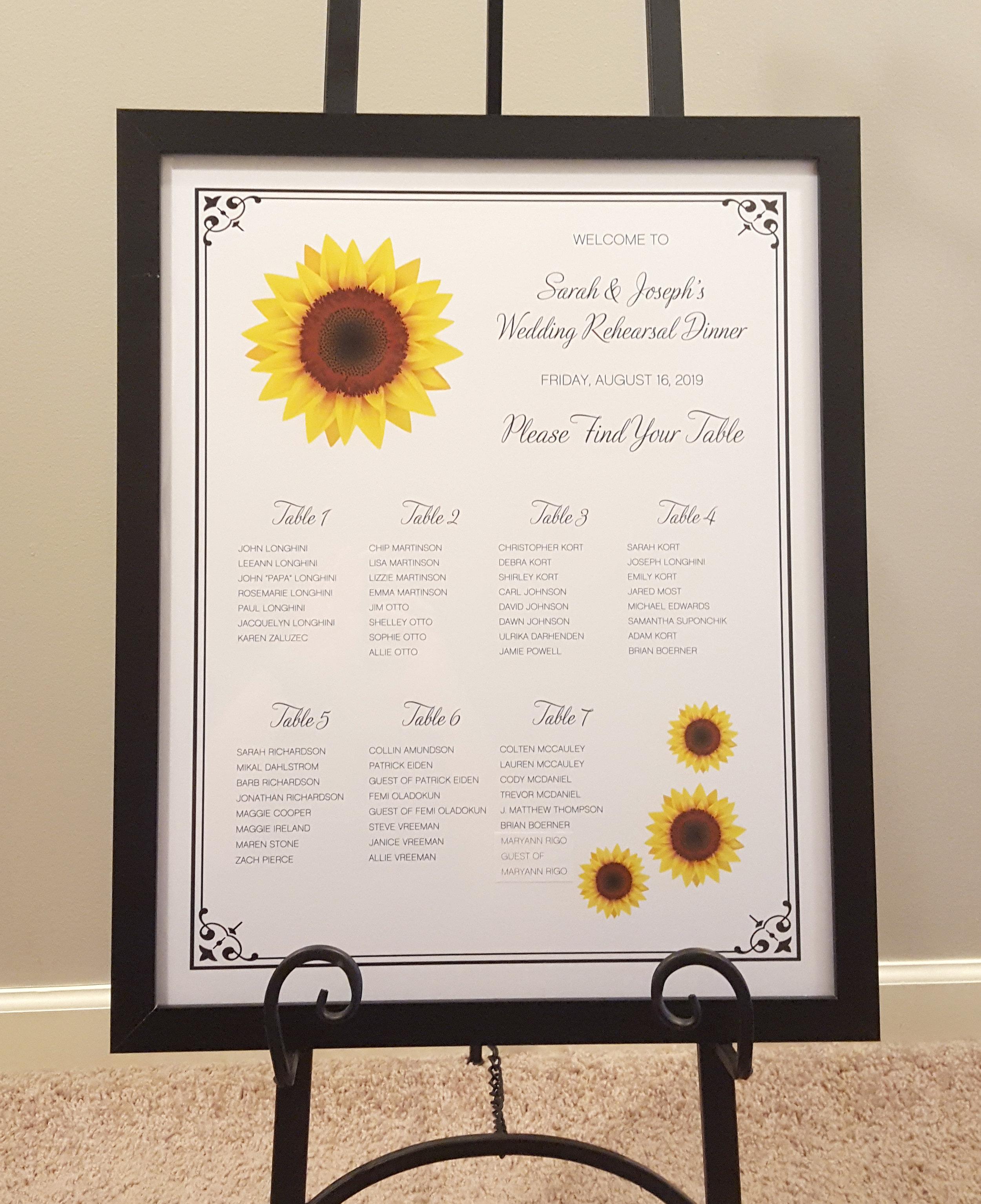 sunflower black and white rehearsal dinner seating chart