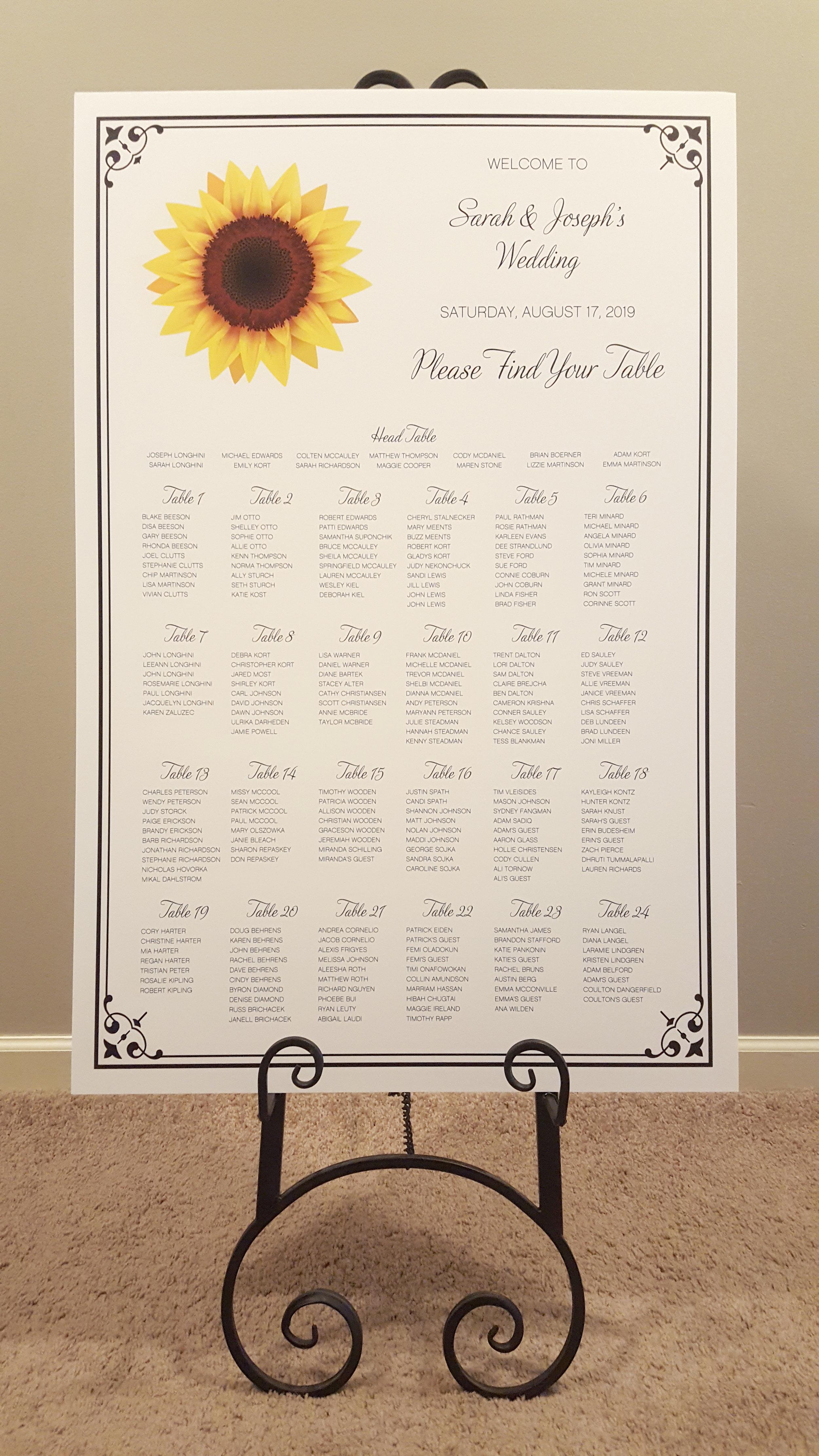 sunflower black and white wedding seating chart