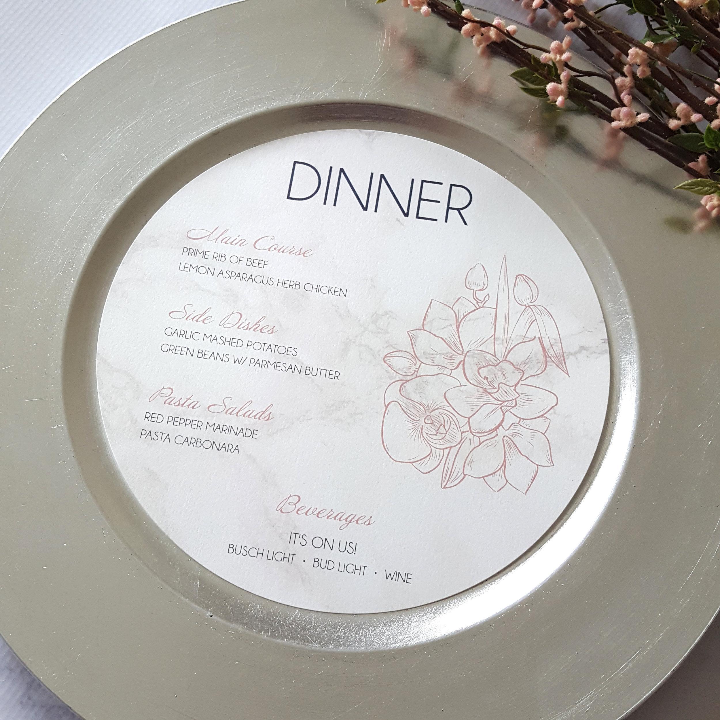 navy blush circle wedding menu