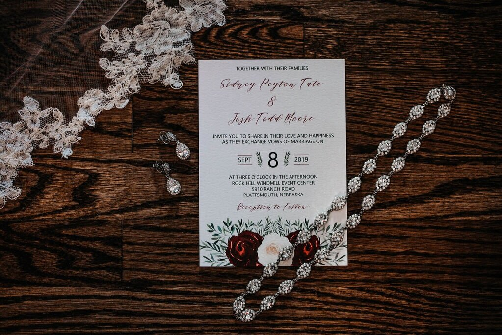 burgundy and ivory watercolor flowers with greenery wedding invitation
