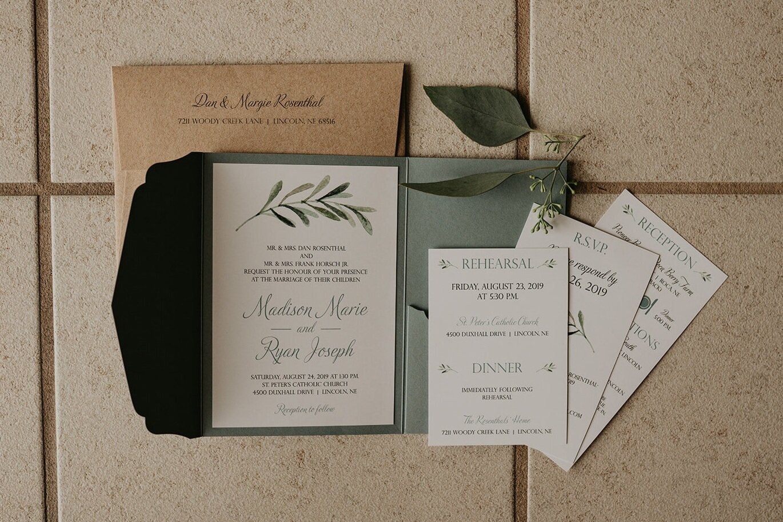greenery laser cut pocket wedding invitation
