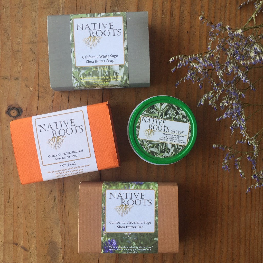 Native Roots - is an indigenous created company that produces high end soaps, lotions, beard butters, salves and balms. Using quality butters, oils, essential oils, clays, salts, Tussah Silk, raw grains and other plant materials help create Native Roots stamp on nurturing and loving your skin, while respecting and connecting with our local plant communities. Sourcing a wide variety of sustainably grown CA Native herbs, as well as classic herbs such as lavender, calendula, Native Roots products are uniquely Native Californian.