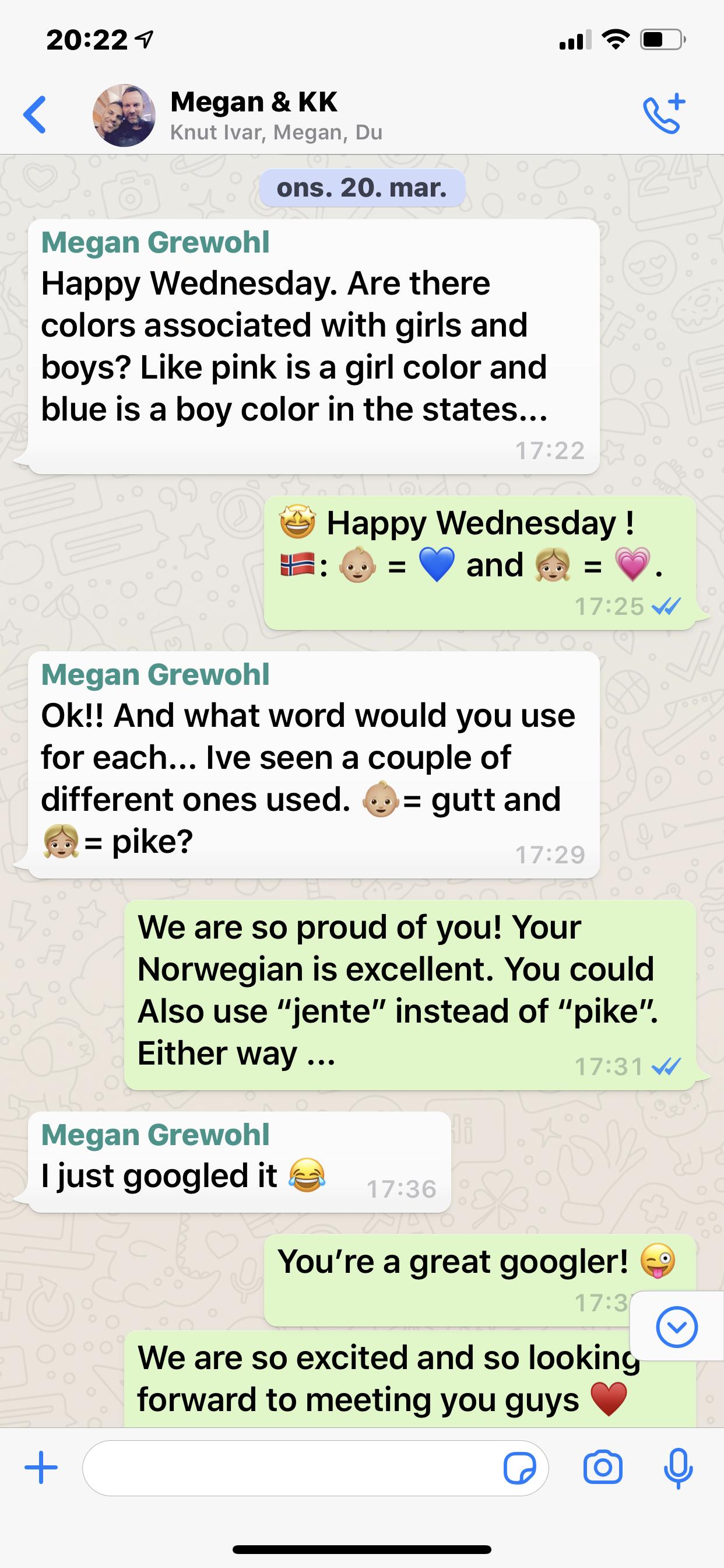 GUTT OG PIKE: Vi har slike WhatsApp-samtaler nesten hver dag, i tillegg til å Skype hver uke.