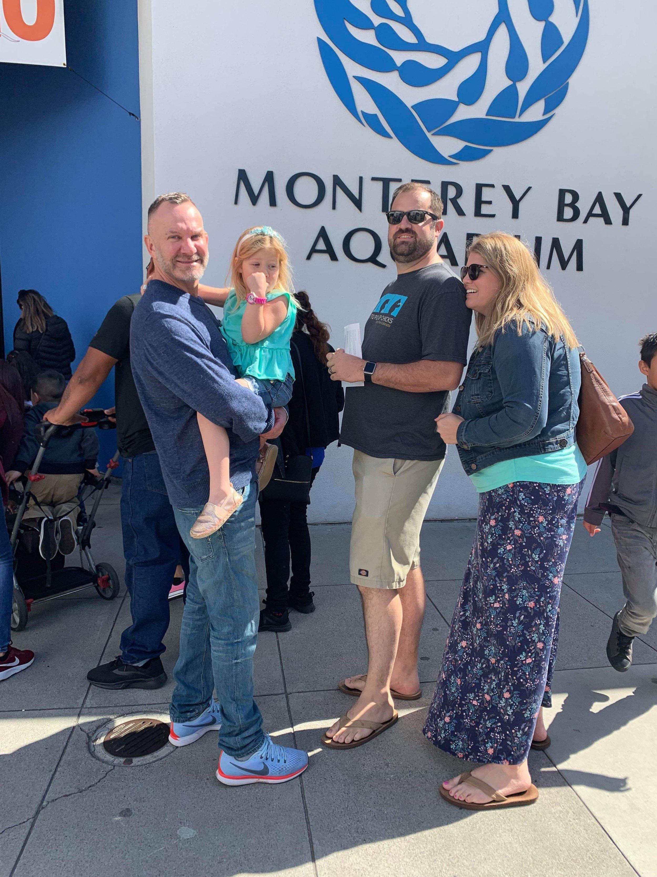 Første dagen var vi med Megan og familien på Monterey Bay Auarium.