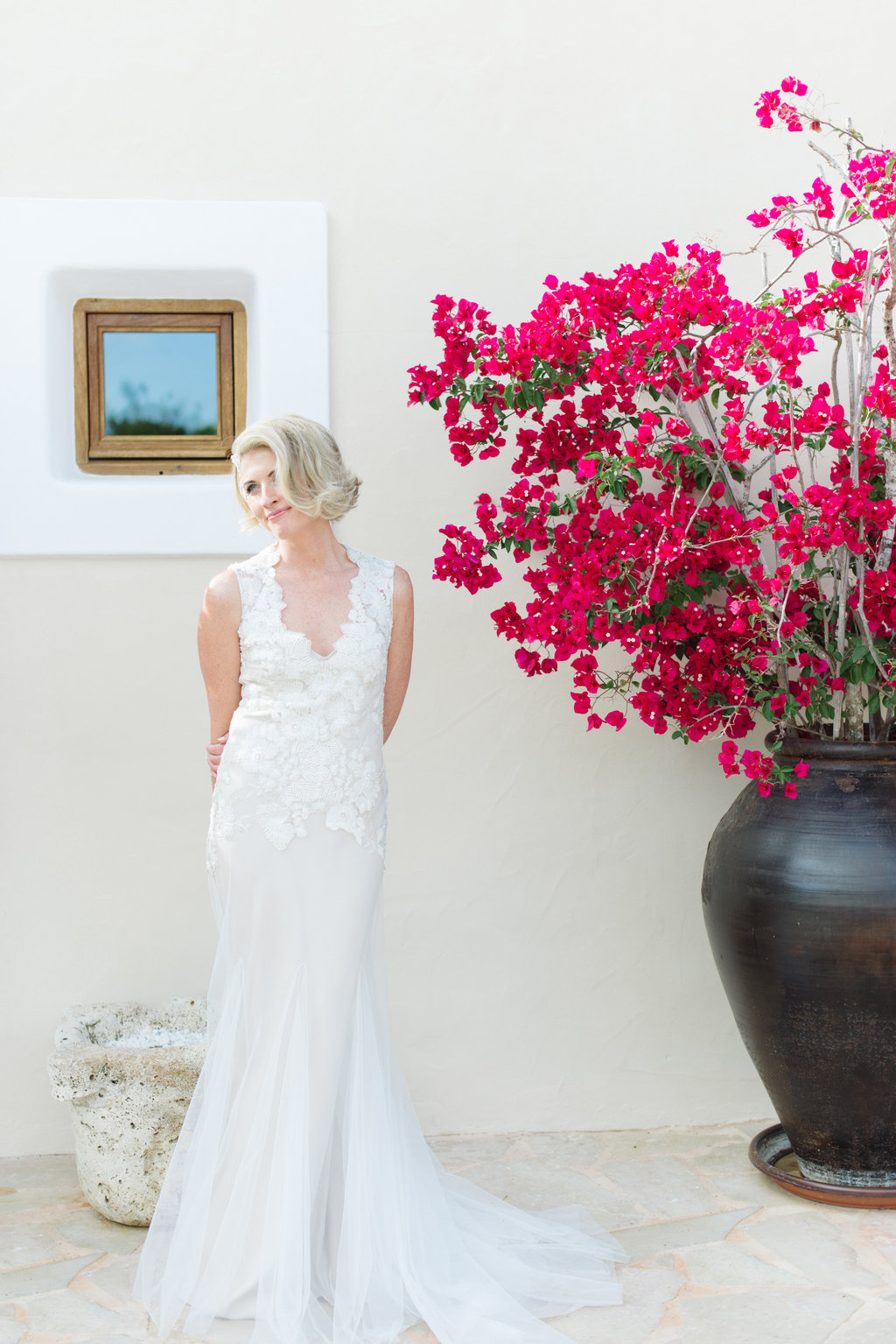 ibiza wedding bride, bougainvillea