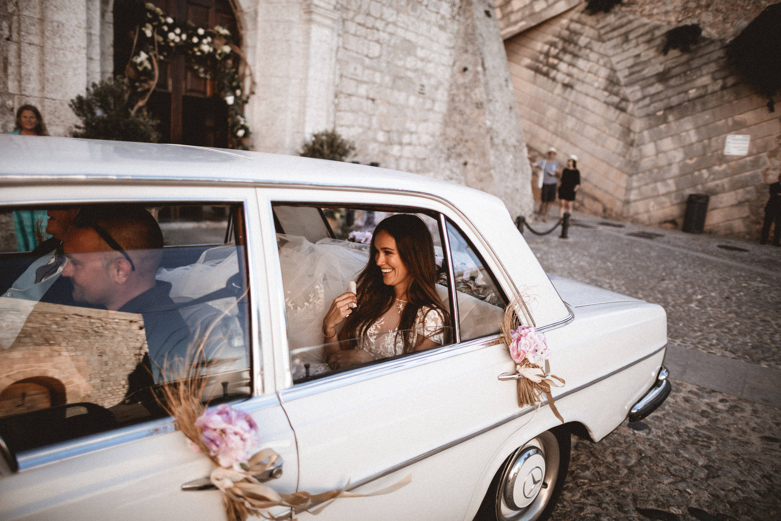 vintage mercedes, ibiza wedding ceremony