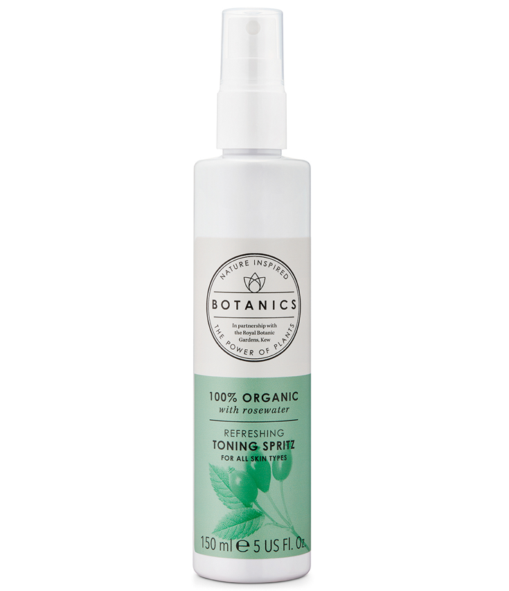 100% Organic Refreshing Toning Spritz - Refreshing toning sprays is where it's at! Now organic refreshing toning sprays is where it's really at! This stuff is an instant pick me up for my face and mood. I spray it in the morning and evening after cleansing. It's an energizing spray and the rose water purifies my skin! It's also a great refresher after being in the sun.Description:When your skin needs a dose of nourishment, give it a spritz of this calming and soothing toner. A generous dose of Organic Rose Water purifies and refreshes skin after cleansing, leaving it feeling revitalized and ready to receive moisturizer.INGREDIENTSAqua (Water), Alcohol denat.*, Glycerin**, Rosa damascena flower oil*, Citronellol****Ingredients contained within this product/s are certified as organic by Soil Association for use in cosmetic products.** Ingredients contained within this product/s are certified as organic by Ecocert for use in cosmetic products.*** Natural occurring in essential oil