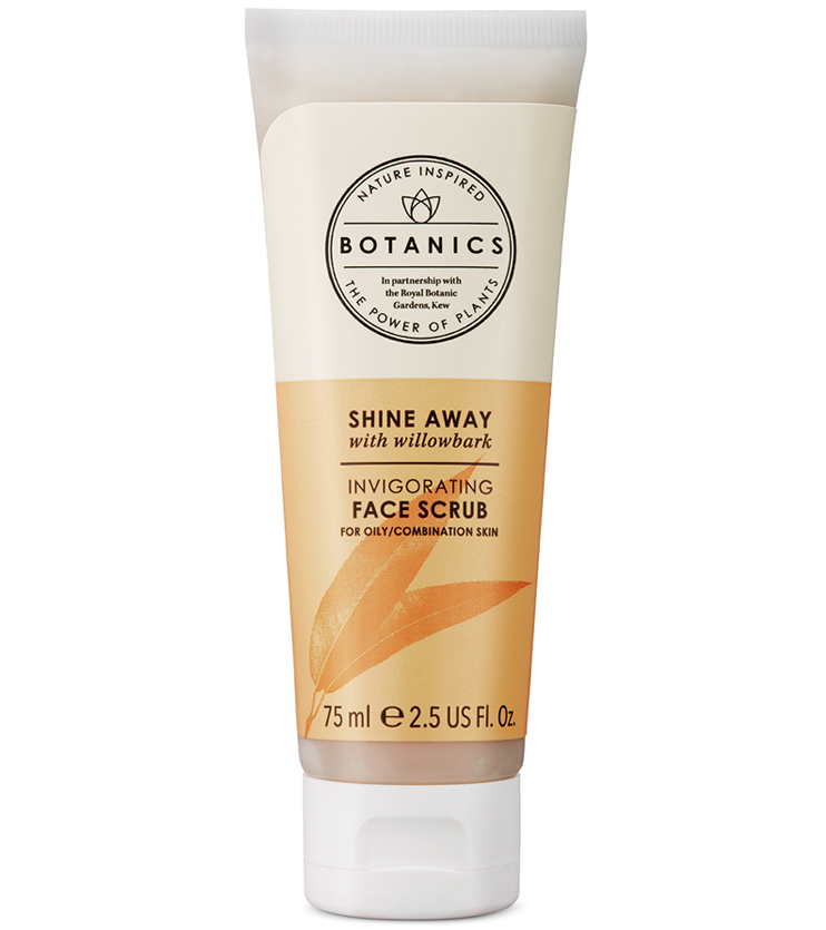 Oily & Combination SkinShine Away Invigorating Face Scrub - An exfoliant is a must to clear away dull and dead skin cells and make way for fresh and radiant skin. I use this scrub about once every 1-1.5 weeks because it is a much coarser exfoliant than I'm use to.Description:deal for oily skin; this face scrub, infused with Willowbark extract, helps to remove impurities, reduce the appearance of pores and slough away dead skin cells.INGREDIENTSAqua (Water), Glycerin, Alcohol denat., Hydrated silica, Xanthan gum, Juglans regia (Walnut) shell powder, Phenoxyethanol, Sodium benzoate, Salix nigra (Willow) bark extract, Dipropylene glycol, Citric acid, Geraniol, Tetrasodium EDTA, Limonene, Linalool, Citrus limon (lemon) peel oil, Juniperus mexicana oil, Citral, Salvia sclarea (Clary) oil, Triethyl citrate, Parfum (Fragrance), Artemisia herba-alba oil.
